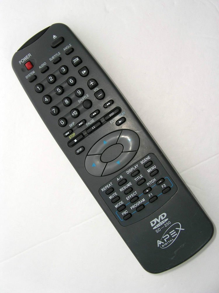 APEX REMOTE CONTROL SD 250 - digital DVD player AD 500 K991 SE 5261W 2017W