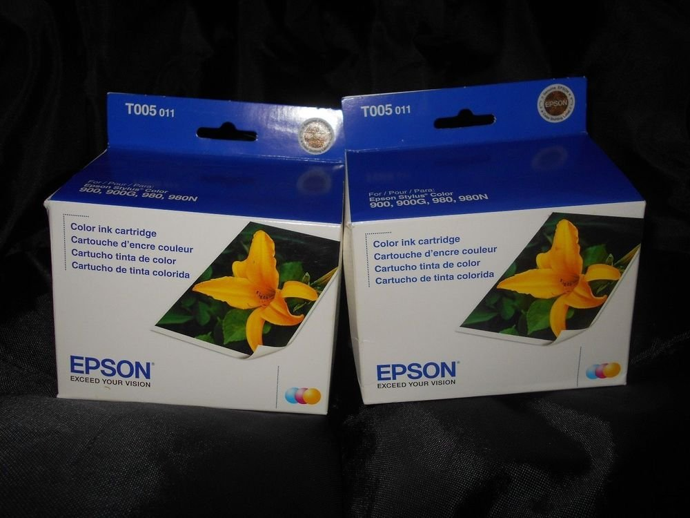 2 (two) Epson T005 Ink Cartridge T005011 for Stylus Color printer 900 980 980N