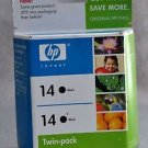14 HP BLACK 2 cartridges C9330FN ink OfficeJet 7140 7130 7110 d155 d145 printer