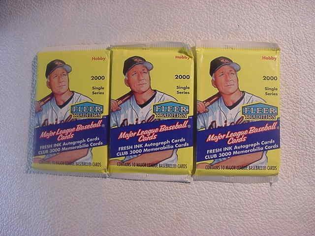 3 new baseball PACKs - 2000 FLEER TRADITION HOBBY fresh ink auto memorabilia