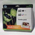 60 HP COMBO black color ink DeskJet F4235 F4210 F2480 F2440 F2430 D5560 printer