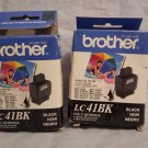 two LC41BK BROTHER BLACK ink Printer MFC 5440CN 5840CN 3340CN 820cw 620CN 420CN