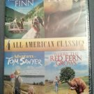 4movie DVD HuckleberryFinn,LASSIE,Tom Sawyer,Ron HOWARD,Mark TWAIN,Merle HAGGARD