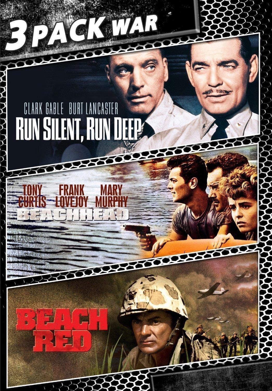 3movie war DVD Run Silent Run Deep,Beachhead,Beach Red Clark GABLE Tony CURTIS