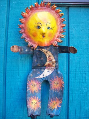 hand painted coconut mexican folk art