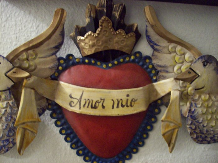 mexican folk art tin doves sacred heart