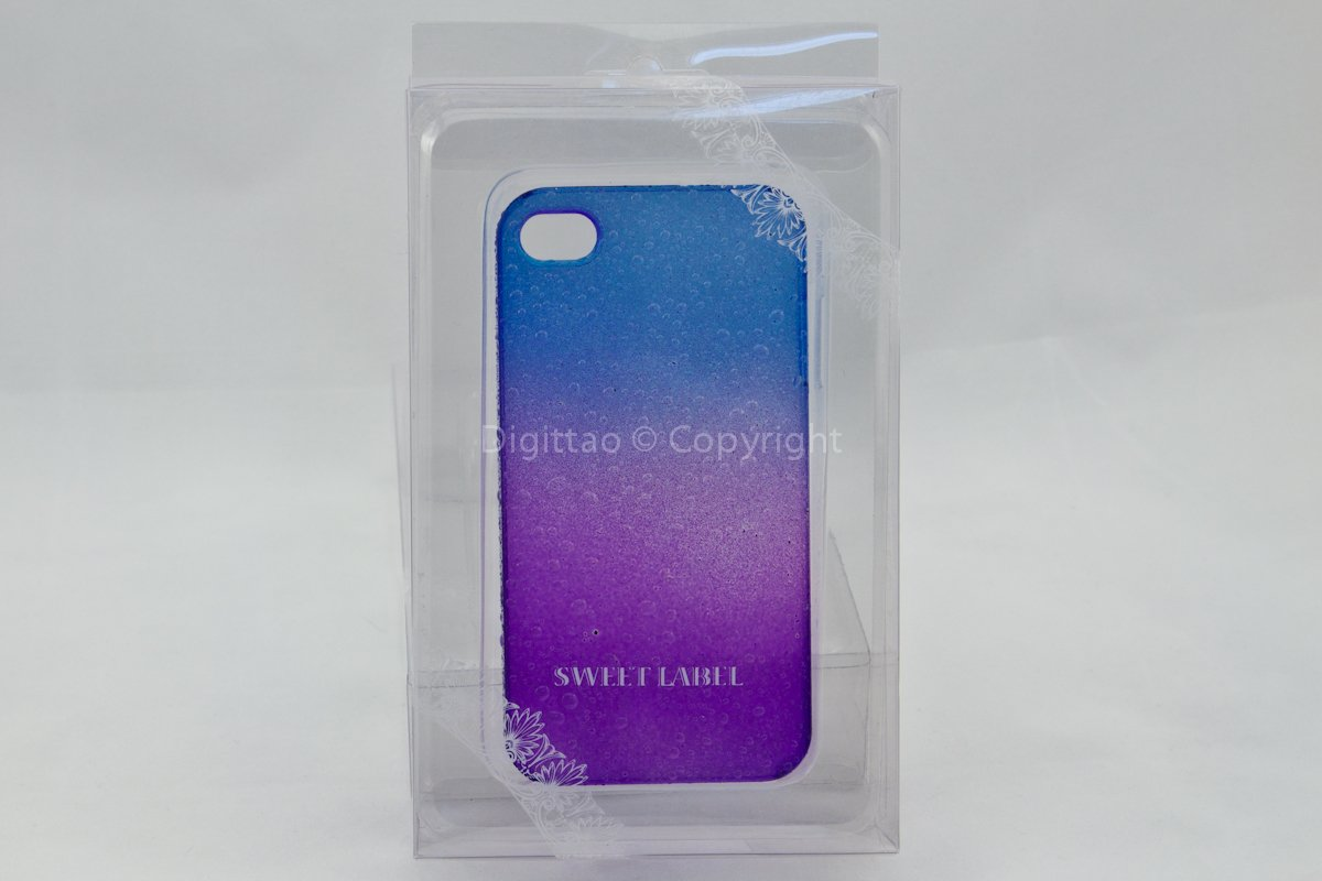 iPhone4 cases WaterDrops Sweet label (BLUE & PURPLE)
