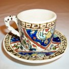 COLLECTIBLE DEMITASSE POTTERY HAND PAINTED CUP AND SAUCER