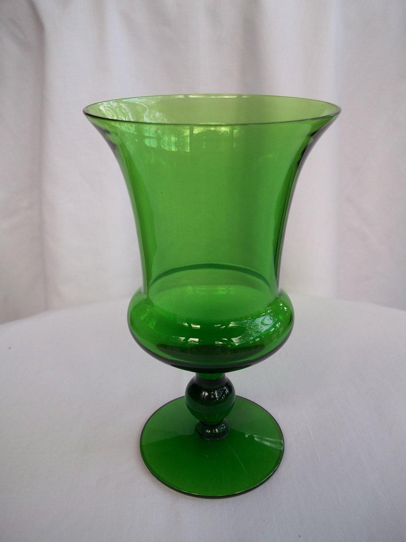 vintage forest green glass footed vase. Black Bedroom Furniture Sets. Home Design Ideas