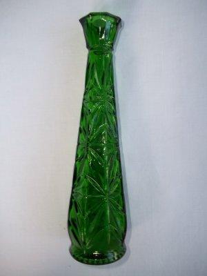 Hoosier Vintage Green Glass Bud Vase