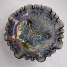 VINTAGE IMPERIAL CARNIVAL GLASS AMETHYST 3-FOOTED BOWL