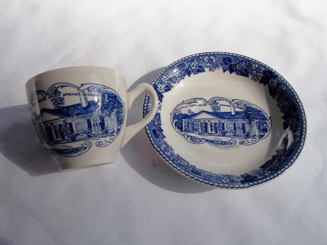 OLD ENGLISH STAFFORDSHIRE WARE Little White House Warm Springs Georgia Demitasse Set