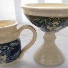 "Pottery Pedestal Bowl and Mug, ""Forest God and Goddess"""