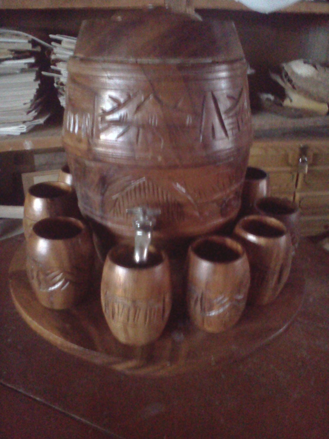 CARVED KEG AND CUP SET FROM HAWAII