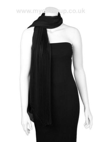 Black chiffon pleated stole shawl scarf  NEW