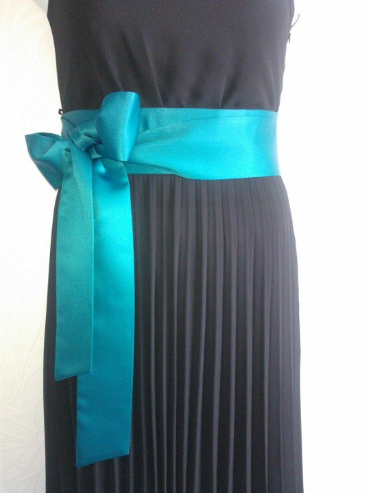"3""x120"" Teal satin sash belt"