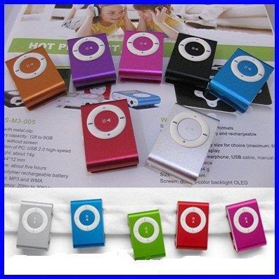 Mini Clip MP3 Player clip mp3 50pcs per lot hot sale with 9colors