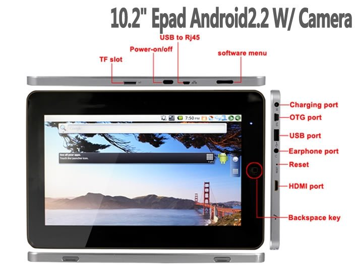 "10"" Mid GPS HDMI WiFi Tablet Touch Ebook 5pcs per lot freeshipping via DHL/TNT/UPS/EMS EEOffer.com"