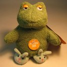 Easter Plush 5 inch green Frog with Slippers