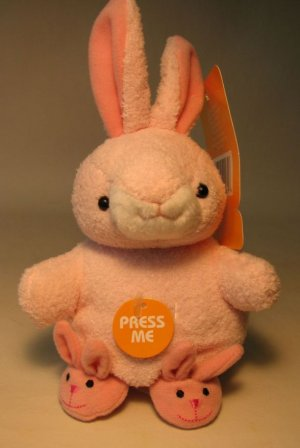 Easter Plush 5 inch pink Bunny with Slippers