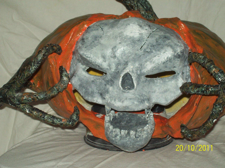 Skull Tearing Out of Skull Pumpkin