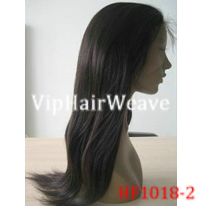 """22"""" Silky Straight Indian Remy Huaman Hair Full Lace Wigs #1B HF1018"""