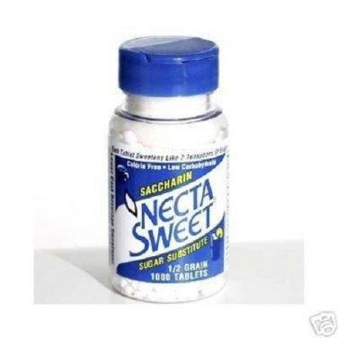 2 1000-Tablet Bottles 1/2 Grain Necta Sweet Saccharin Tablets NectaSweet