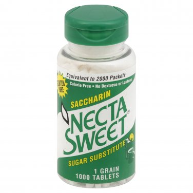2 1000-Tablet Bottles 1 Grain NectaSweet Saccharin Tablets Necta Sweet