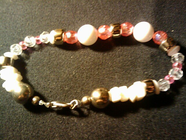 """handcrafted 9""""  Pretty in Pink anklet"""