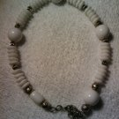 "Adjustable clasp fits 10""-13"" handcrafted white rondelle anklet"