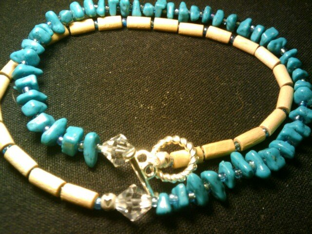 """handcrafted 9"""" turquoise double wrap around"""