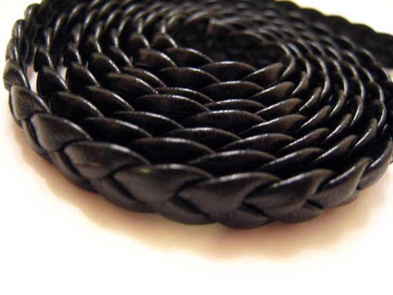 1 Meter ( 1 Yard ) of 6mm Jet ( Black ) Flat Braided Leather Like Cord
