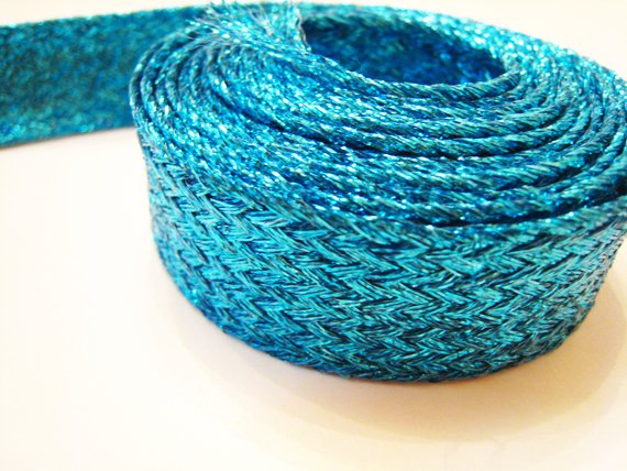 1 Yard of Metalic Blue Braided Horsehair Ribbon for Hair , Clothes or Jewelry Accessories