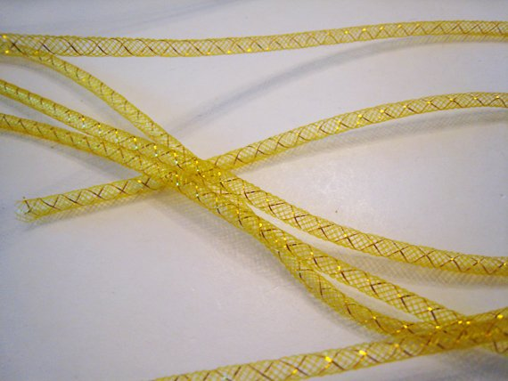 1 Yard of Citrine ( Yellow ) Horsehair ( Crin) Tube Crinoline for Hair Accessories ( 5mm Width )