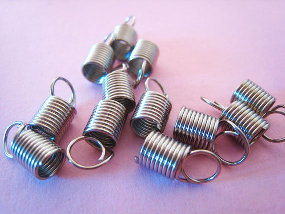 6 pcs Silver Plated Leather Crimps Nickel Tone Fold Over Cord Ends For Leather 12mm x 5mm