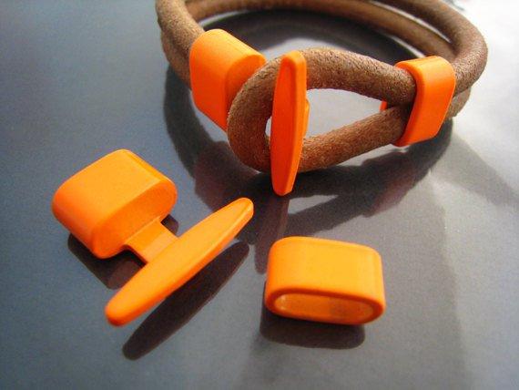1 Set Neon Orange Metal T-Bar Hook Loop Clasp Buckle Toggle End Cap