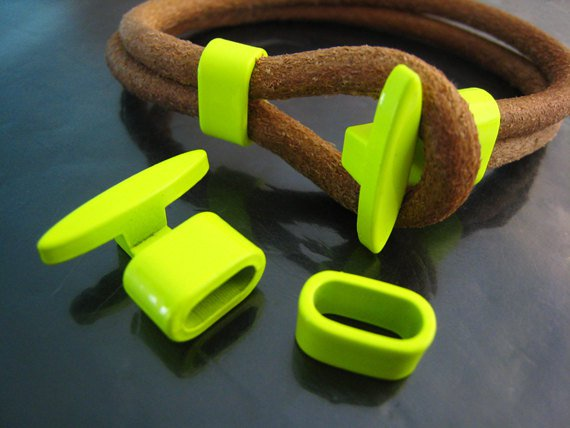 1 Set Neon Yellow Metal T-Bar Hook Loop Clasp Buckle Toggle End Cap