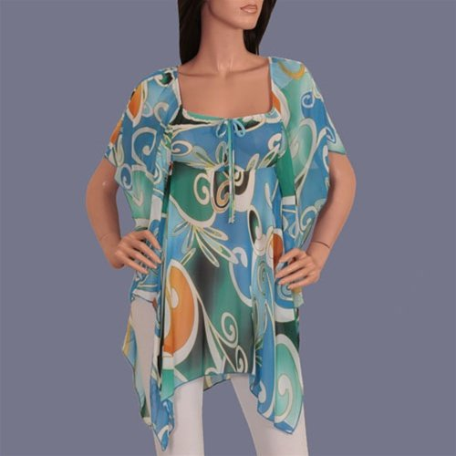 Aqua blue abstract print blouse-SMALL, MEDIUM, LARGE