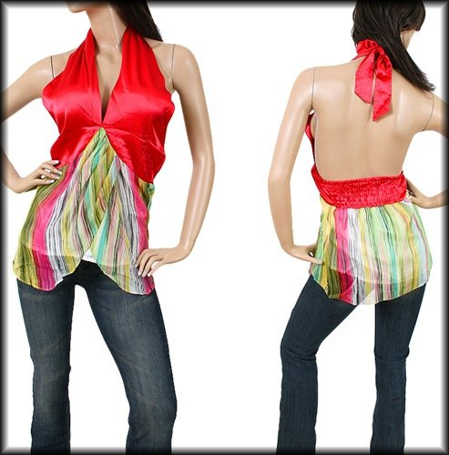 Red and Green Halter blouse SMALL - MEDIUM - LARGE