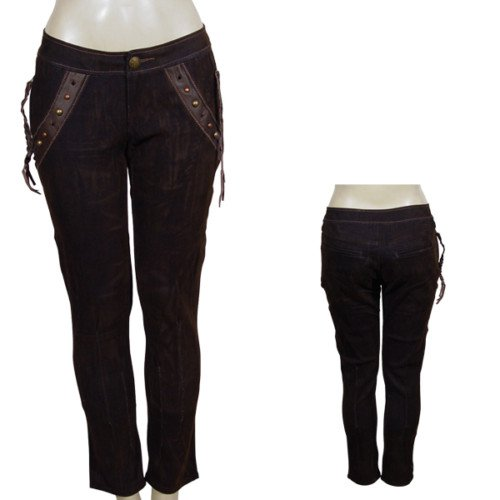 Brown Pants with Tasseled Detail SMALL, MEDIUM