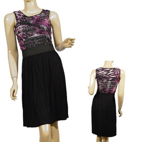Purple and Black Knee Length Dress SMALL, MEDIUM