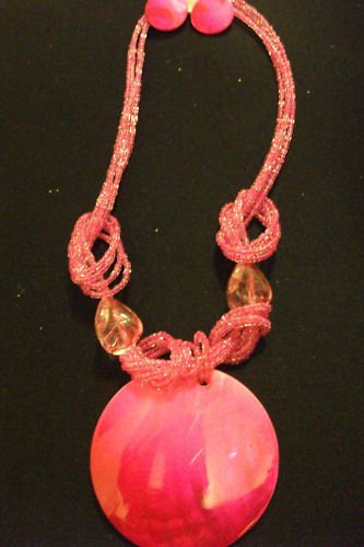 Pink Stringed Necklace and Earring Set with Pendant
