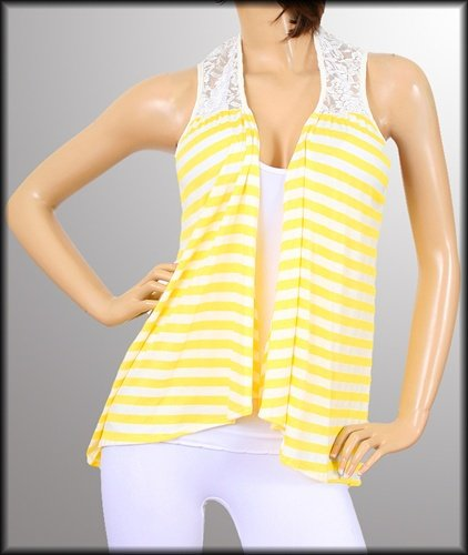 Plus Yellow Striped Sleeveless Blouse - 1XL, 2XL, 3XL