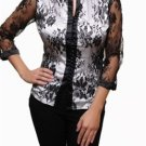 White Blouse Lace Sleeves and Overlay SMALL, MEDIUM, LARGE