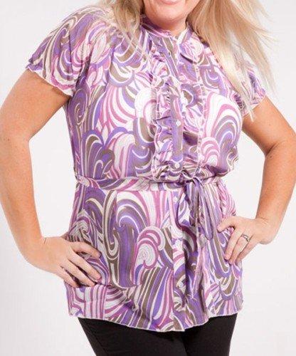 Plus Purple Print Blouse with Adjustable Waist Tie - 1XL - 2XL