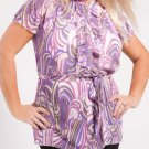 Plus Purple Print Blouse with Adjustable Waist Tie - 1XL - 2XL