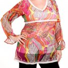Plus V-Neck Abstract Print Sheer Long Sleeve Blouse 1xl, 2xl, 3xl