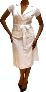 Plus Linen Jacket and Skirt Set