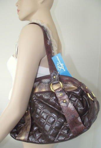 Medium Size Handbag w/ Washed Snake Skin Inspired Print
