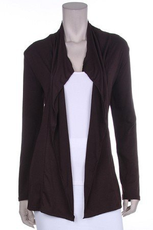 Brown Long Sleeve Open Cardigan 1XL